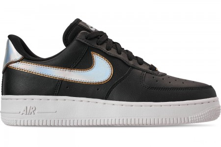 Nike Women's Air Force 1 '07 Metallic Casual Shoes - Black/Metallic Platinum/Summit White