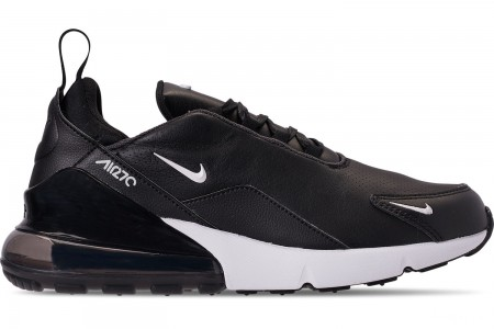 Nike Men's Air Max 270 Premium Leather Casual Shoes - Black/White/Anthracite/Metallic Dark Grey