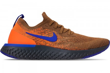 Nike Men's Epic React Flyknit MWB Running Shoes - Golden Beige/Racer Blue/Total Orange