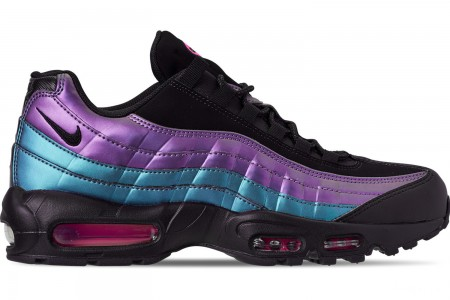 Nike Men's Air Max 95 Premium Casual Shoes - Black/Black/Laser Fuchsia