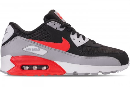 Nike Men's Air Max 90 Essential Casual Shoes - Wolf Grey/Bright Crimson/Black/White