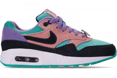 Nike Big Kids' Air Max 1 Casual Shoes - Black/White/Space Purple/Bleached Coral