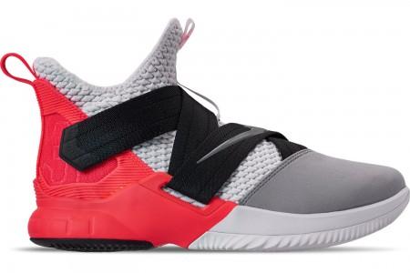 Nike Men's LeBron Soldier 12 SFG Basketball Shoes - White/Dark Grey/Flash Crimson