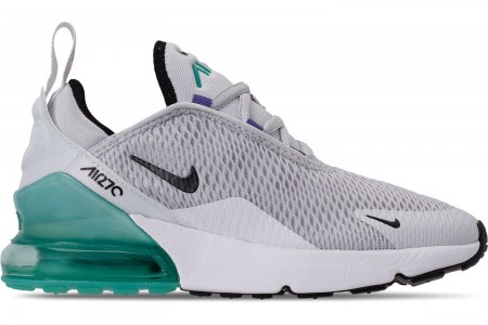 Nike Little Kids' Air Max 270 Casual Shoes - Pure Platinum/Black/White/Hyper Jade