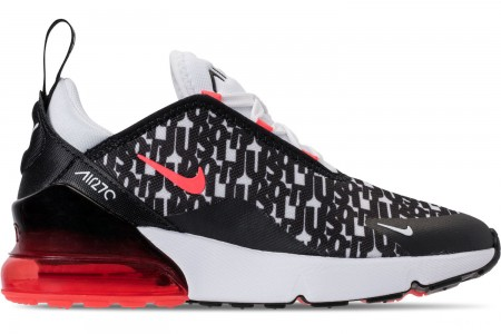 Nike Boys' Little Kids' Air Max 270 Print Running Shoes - Black/White/Bright Crimson