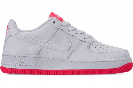 Nike Girls' Big Kids' Air Force 1 Casual Shoes - White/White/Racer Pink