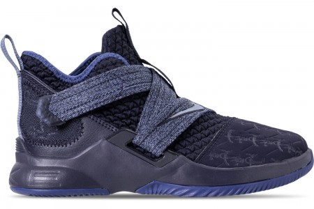 Nike Boys' Little Kids' LeBron Soldier 12 Basketball Shoes - Blackened Blue/Work Blue/Gym Blue