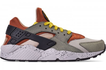 Nike Men's Nike Air Huarache Run Premium Casual Shoes - Spruce Fog/Black/Bright Citron