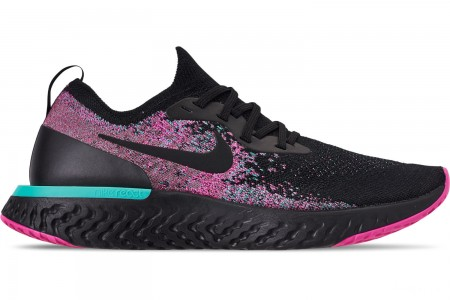 Nike Men's Epic React Flyknit Running Shoes - Black/Black/Hyper Jade/Laser Fuchsia