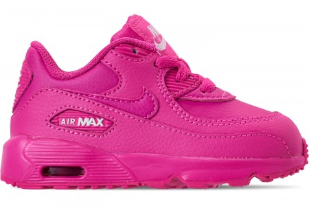 Nike Girls' Toddler Air Max 90 Leather Casual Shoes - Laser Fuchsia/White