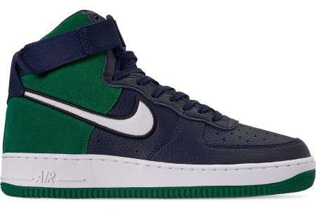 Nike Men's Air Force 1 High '07 LV8 1 Casual Shoes - Midnight Navy/Mystic Green/Black/Whit