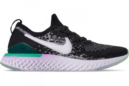 Nike Girls' Big Kids' Epic React Flyknit 2 Running Shoes - Black/White/Bleached Coral/Hyper Jade