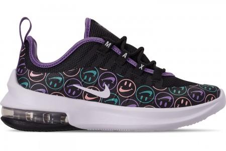 Nike Little Kids' Air Max Axis Print Casual Shoes - Black/White/Space Purple/Hyper Jade