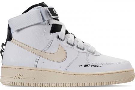 Nike Women's Air Force 1 High Utility Casual Shoes - White/Light Cream/Black/White