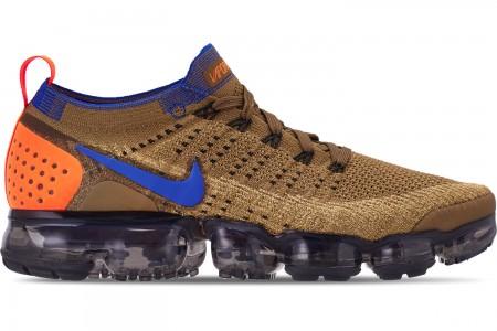 Nike Men's Air VaporMax Flyknit 2 Running Shoes - Golden Beige/Racer Blue/Club Gold