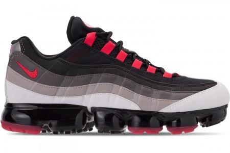 Nike Men's Air VaporMax '95 Running Shoes - White/Hot Red/Dark PewterGranite