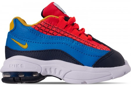 Nike Boys' Toddler Air Max 95 Now Casual Shoes - Bright Crimson/Amarillo/Photo Blue