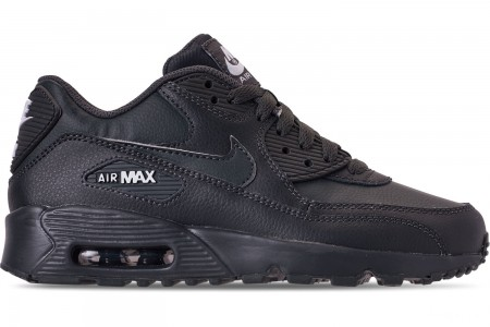 Nike Big Kids' Air Max 90 Leather Casual Shoes - Anthracite/White