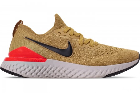 Nike Men's Epic React Flyknit 2 Running Shoes - Club Gold/Metallic Gold/Black/Red Orbit