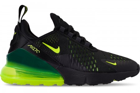 Nike Big Kids' Air Max 270 Casual Shoes - Black/Volt/Black/Oil Grey