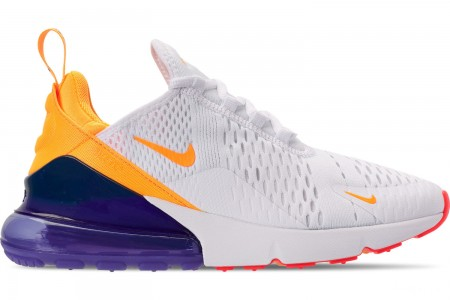 Nike Women's Air Max 270 Casual Shoes - White/Laser Orange/Hyper Violet