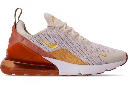 Nike Women's Air Max 270 Casual Shoes - Light Cream/Metallic Gold/Terra Blue
