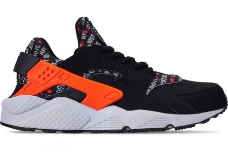 Nike Men's Nike Air Huarache Run JDI Casual Shoes - Black/Total Orange/White/Cool Grey