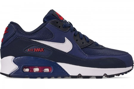 Nike Men's Air Max 90 Essential Casual Shoes - Midnight Navy/White/University Red