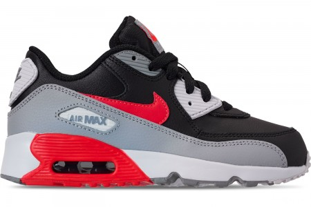 Nike Little Kids' Air Max 90 Leather Casual Shoes - Wolf Grey/Bright Crimson/Black/White