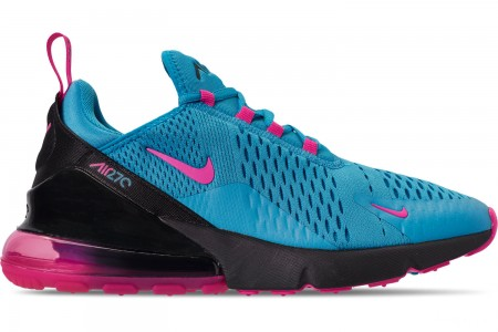 Nike Men's Air Max 270 Casual Shoes - Light Blue/Laser Fuchsia/Black