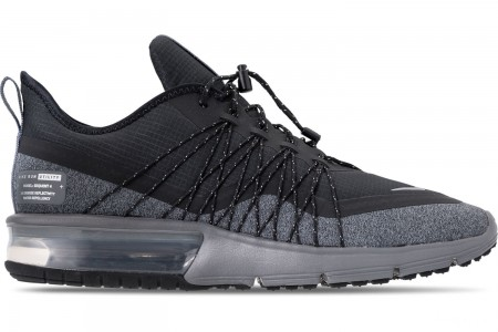 Nike Men's Air Max Sequent 4 Shield Casual Shoes - Black/Metallic Silver/Dark Grey