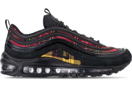 Nike Women's Air Max 97 SE Tartan Casual Shoes - Black/University Red/Amarillo