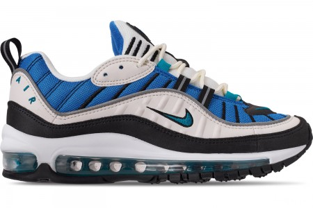 Nike Women's Air Max 98 Casual Shoes - Sail/Radiant Emerald/Blue Nebula