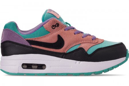 Nike Little Kids' Air Max 1 Casual Shoes - Black/White/Space Purple/Bleached Coral