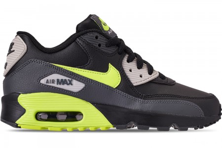 Nike Big Kids' Air Max 90 Leather Casual Shoes - Dark Grey/Volt/Black/Light Bone
