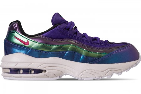 Nike Girls' Little Kids' Air Max 95 SE Casual Shoes - Court Purple/Rush Pink/Neptune Green