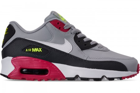Nike Big Kids' Air Max 90 Leather Casual Shoes - Wolf Grey/White/Rush Pink/Volt