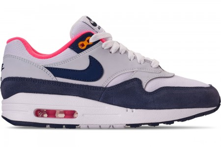 Nike Women's Air Max 1 Casual Shoes - White/Midnight Navy/Pure Platinum