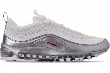 Nike Men's Air Max 97 QS Casual Shoes - White/Varsity Red/Metallic Silver/Black