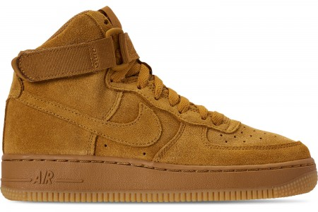 Nike Boys' Big Kids' Air Force 1 High LV8 Casual Shoes - Wheat/Wheat Gum/Light Brown