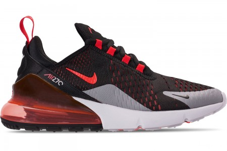Nike Men's Air Max 270 Casual Shoes - Black/Bright Crimson/Hyper Crimson/Wolf Grey