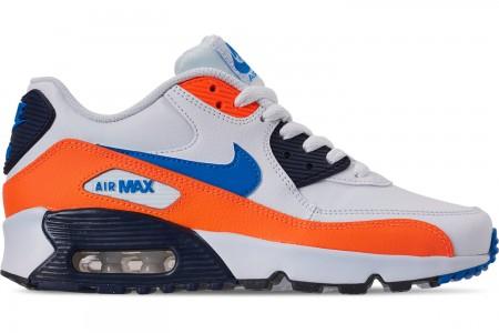 Nike Big Kids' Air Max 90 Leather Casual Shoes - White/Photo Blue/Total Orange