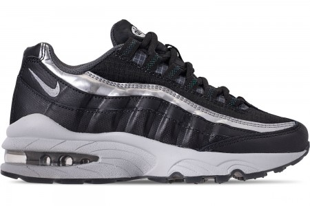 Nike Boys' Big Kids' Air Max 95 Y2K Casual Shoes - Black/Metallic Silver/Dark Grey