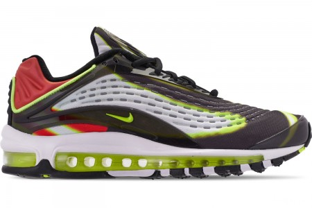 Nike Men's Air Max Deluxe Casual Shoes - Black/Volt/Habanero Red/White