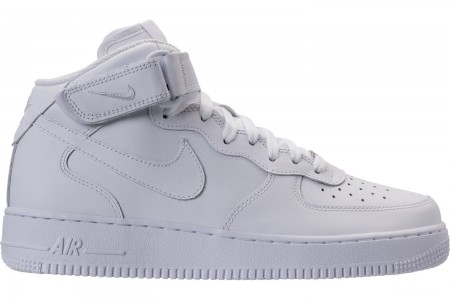 Nike Men's Air Force 1 Mid Casual Shoes - White/White