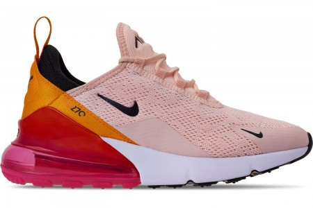 Nike Women's Air Max 270 Casual Shoes - Washed Coral/Black/Laser Fuchsia/Orange