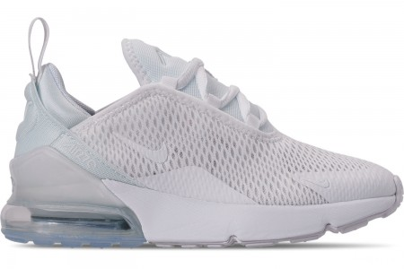 Nike Little Kids' Air Max 270 Casual Shoes - White/White/Metallic Silver