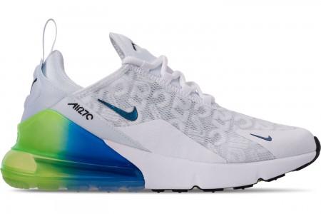 Nike Men's Air Max 270 SE Casual Shoes - White/White/Lime Blast/Photo Blue