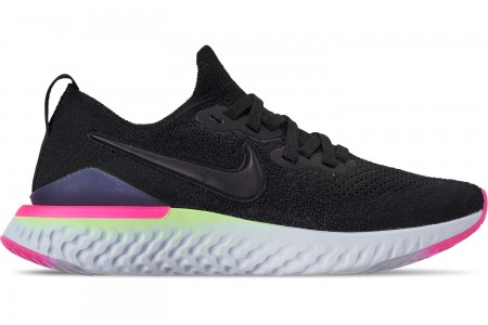 Nike Men's Epic React Flyknit 2 Running Shoes - Black/Black Sapphire/Lime Blast