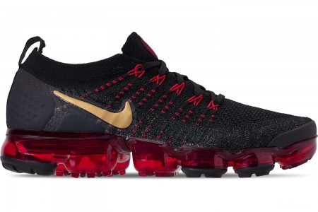 Nike Men's Air VaporMax Flyknit 2 Chinese New Year Running Shoes - Black/Metallic Gold/University Red